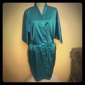 Teal Satin  Kimono L